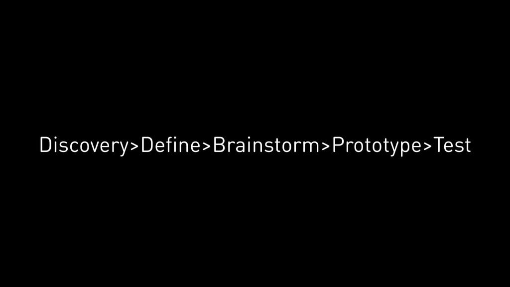 Discovery>Define>Brainstorm>Prototype>Test