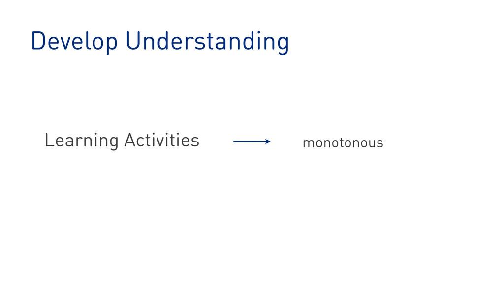 Develop Understanding Learning Activities monot...