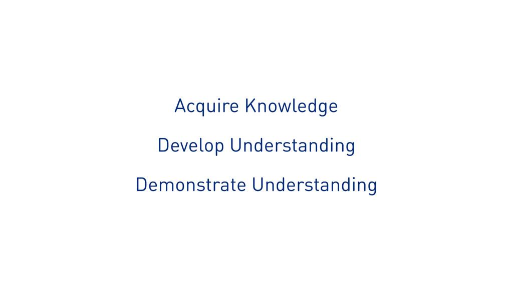 Acquire Knowledge Develop Understanding Demonst...
