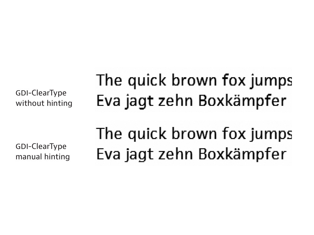 -ClearType without hinting -ClearType manual hi...