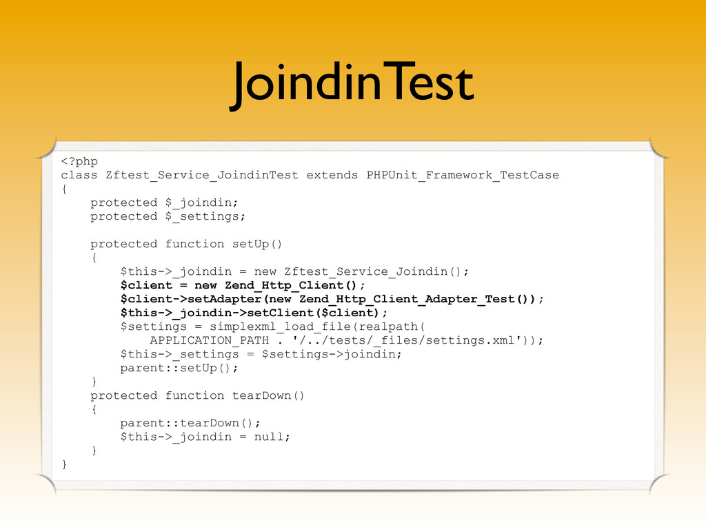 JoindinTest <?php class Zftest_Service_JoindinT...