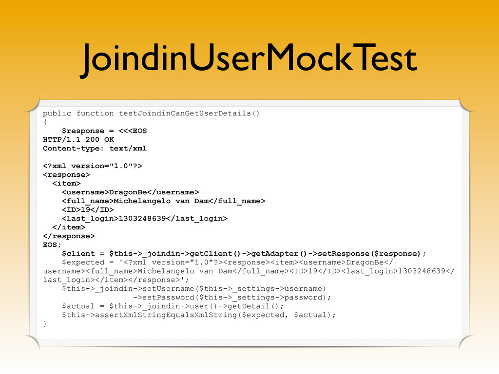 JoindinUserMockTest public function testJoindin...