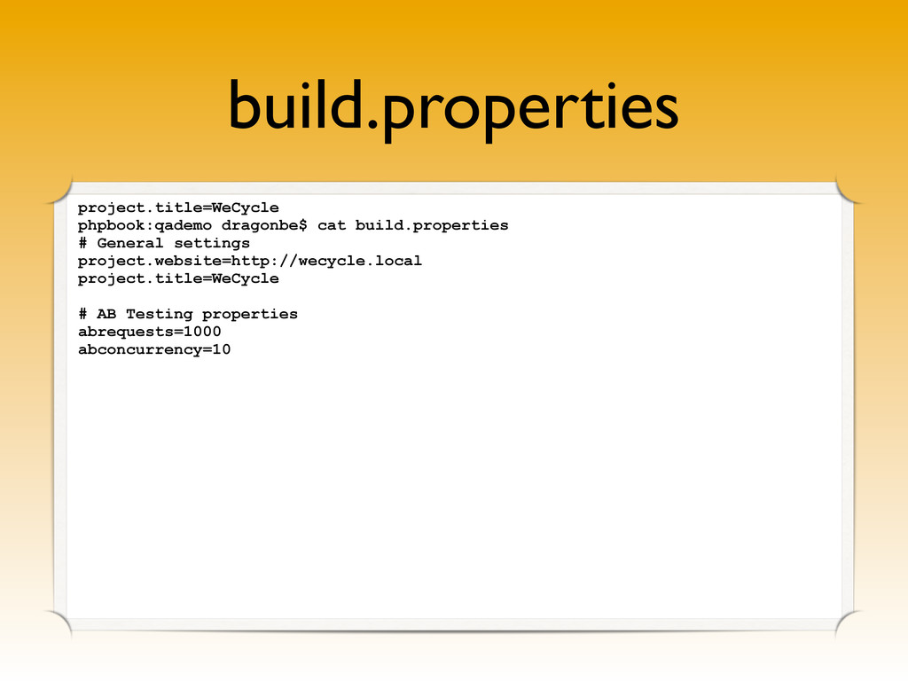 build.properties project.title=WeCycle phpbook:...