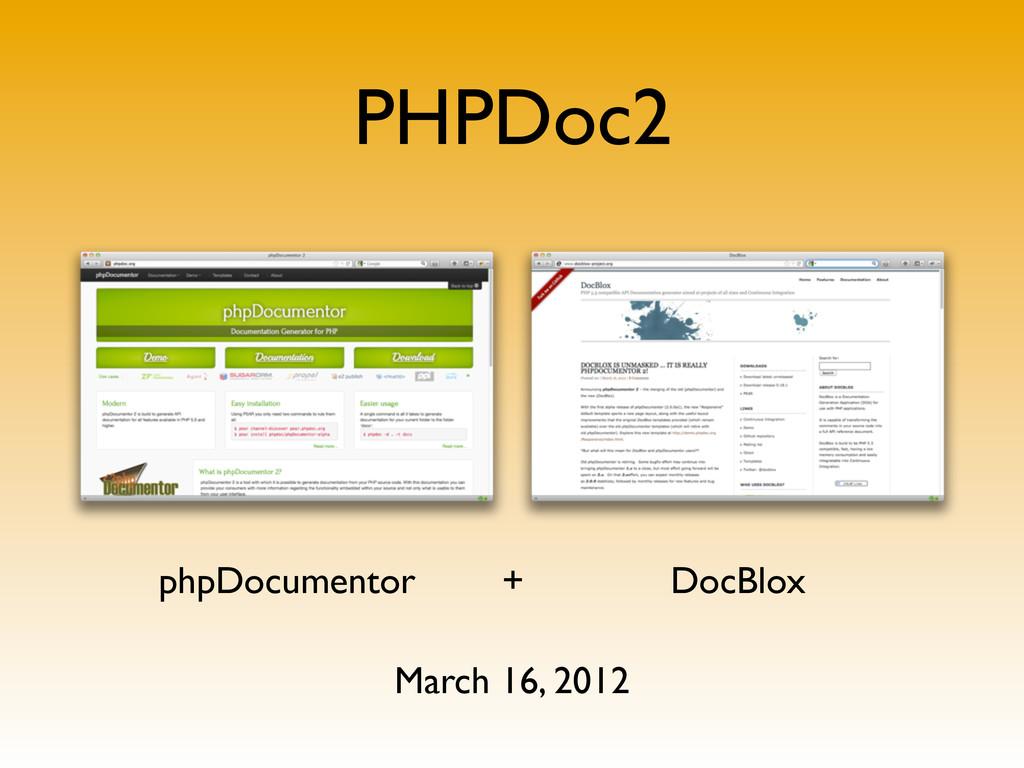 PHPDoc2 phpDocumentor + DocBlox March 16, 2012