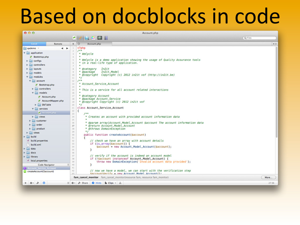 Based on docblocks in code