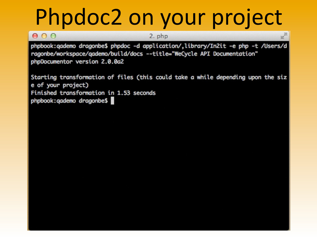 Phpdoc2 on your project