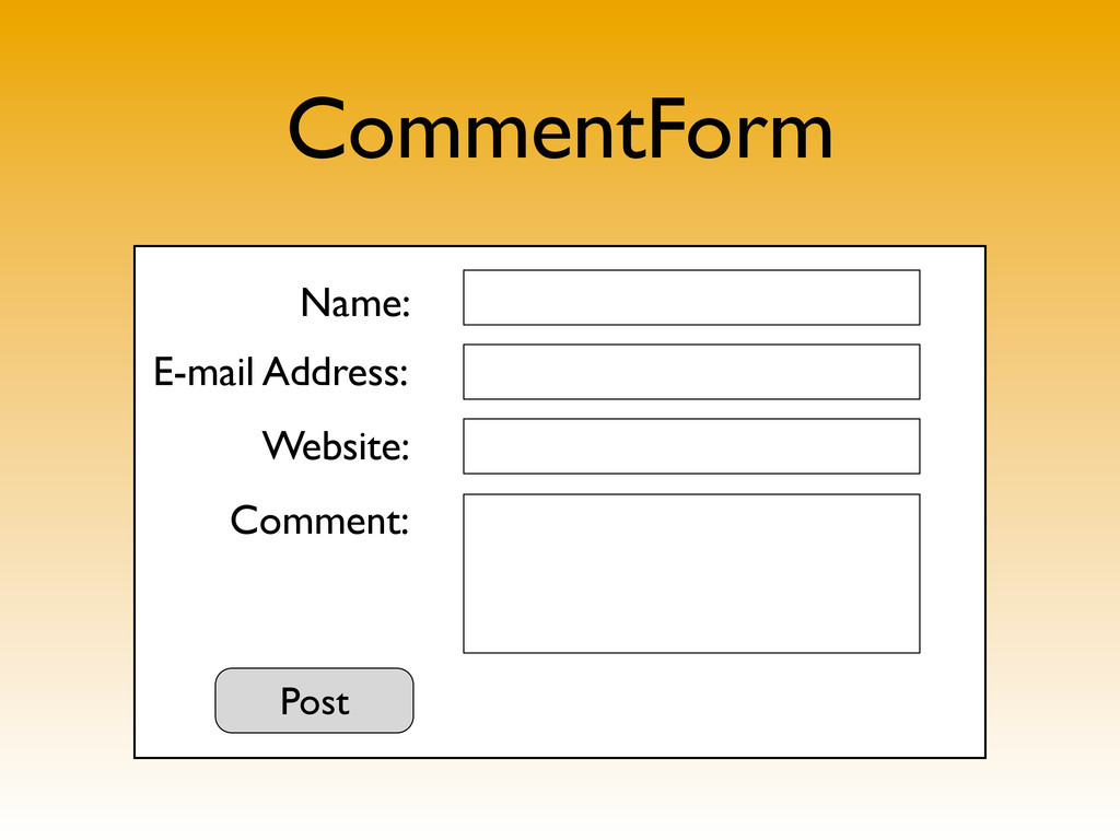 CommentForm Name: E-mail Address: Website: Comm...