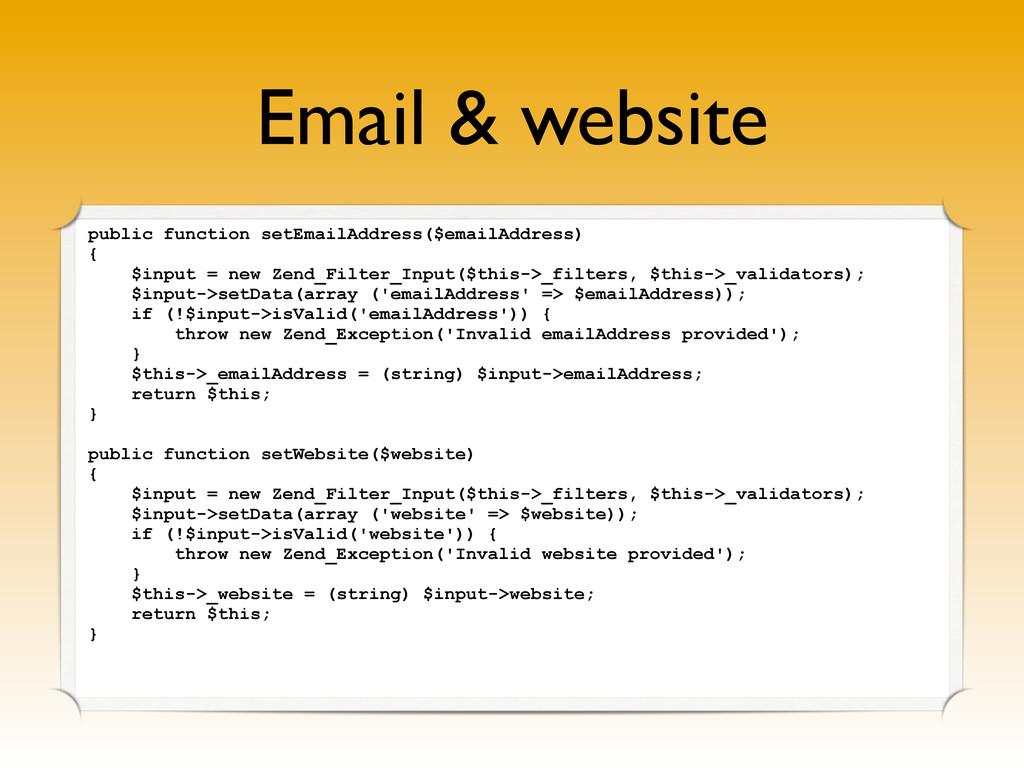 Email & website public function setEmailAddress...