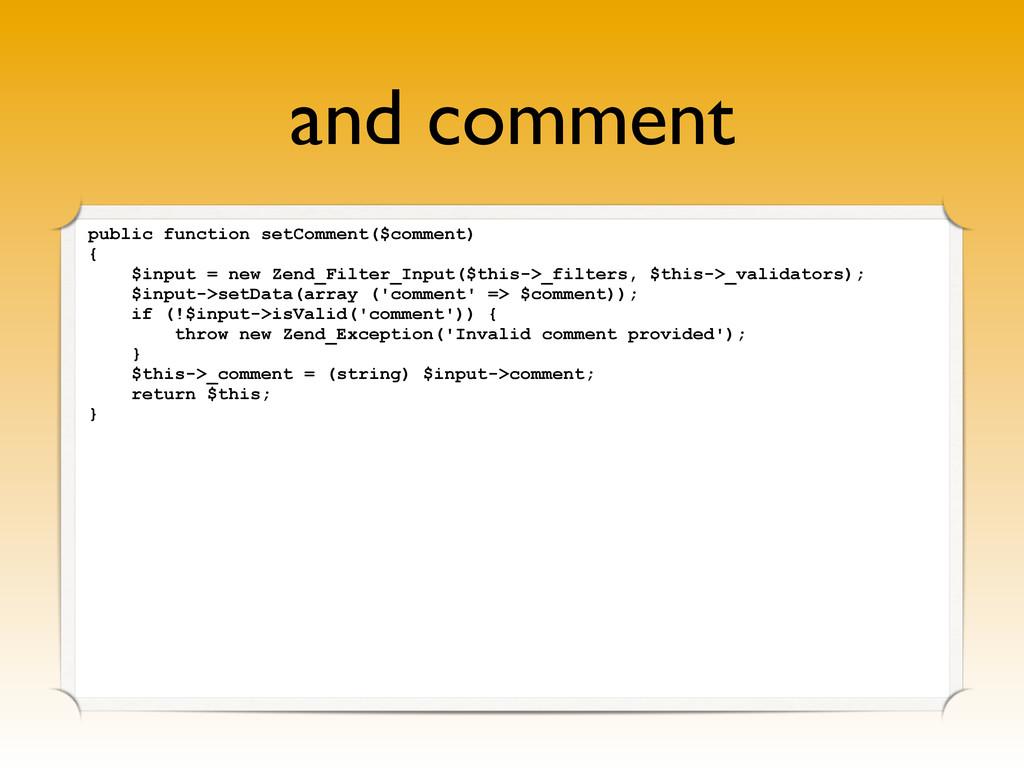 and comment public function setComment($comment...