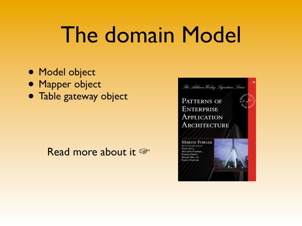 The domain Model • Model object • Mapper object...