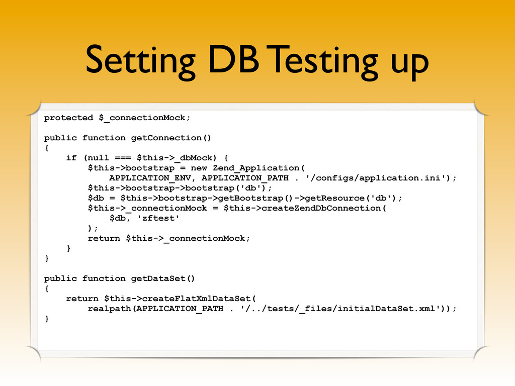 Setting DB Testing up protected $_connectionMoc...