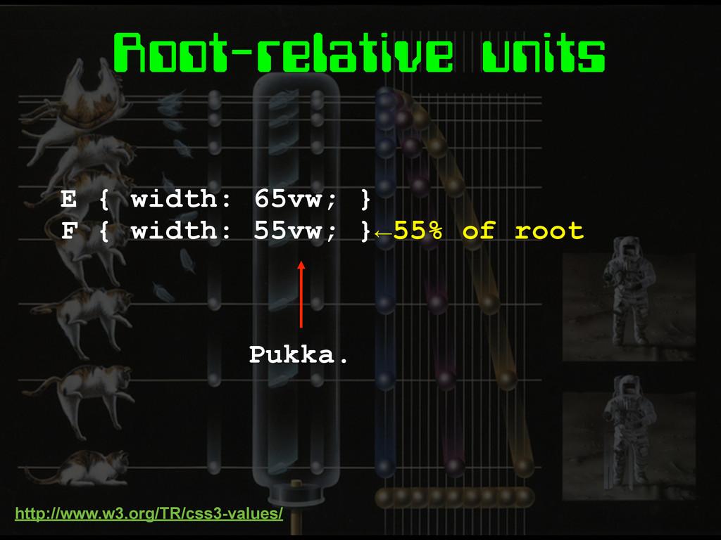 Root-relative units E { width: 65vw; } F { widt...