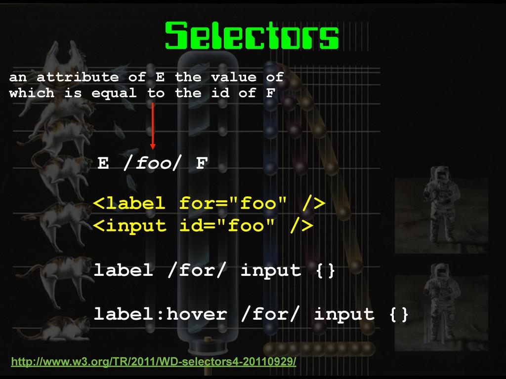 "Selectors <label for=""foo"" /> <input id=""foo"" /..."