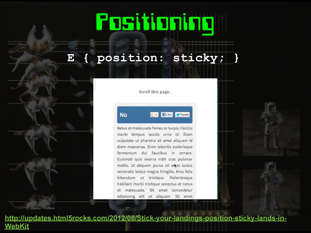 Positioning E { position: sticky; } http://upda...