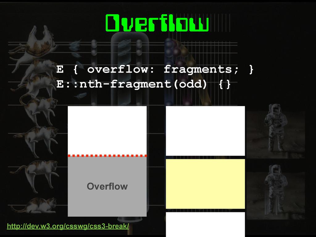 Overflow E { overflow: fragments; } E::nth-frag...
