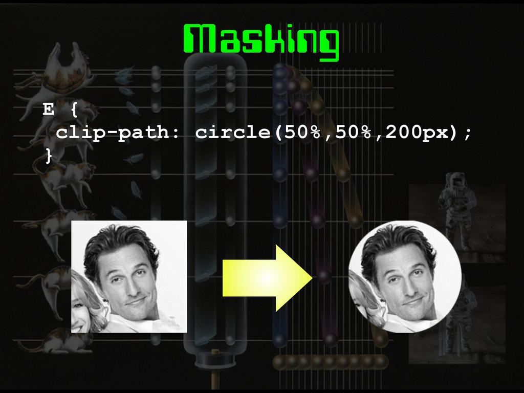 Masking E { clip-path: circle(50%,50%,200px); }
