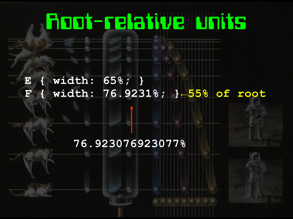 Root-relative units E { width: 65%; } F { width...