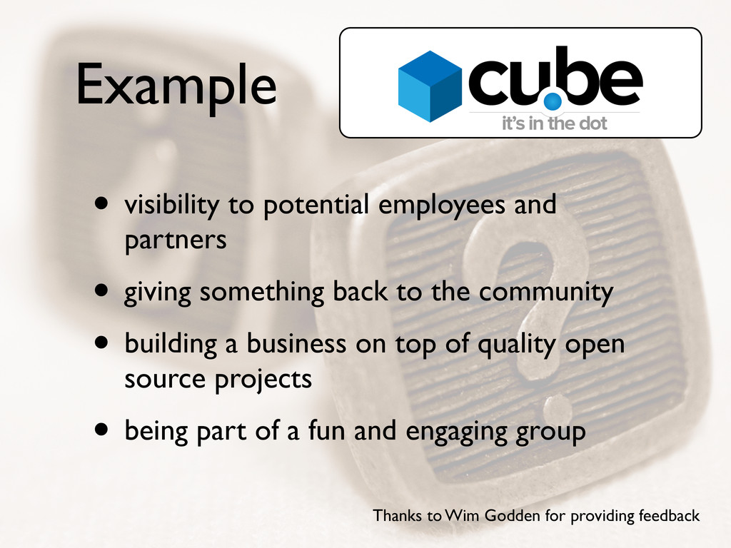 Example • visibility to potential employees and...