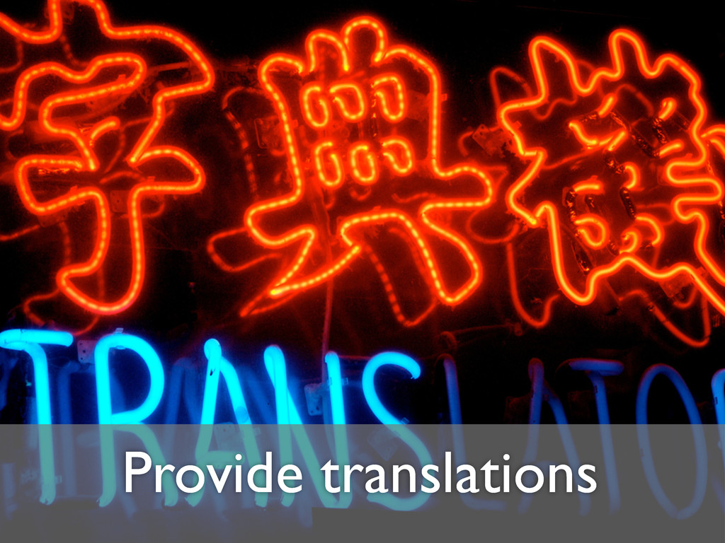 Provide translations