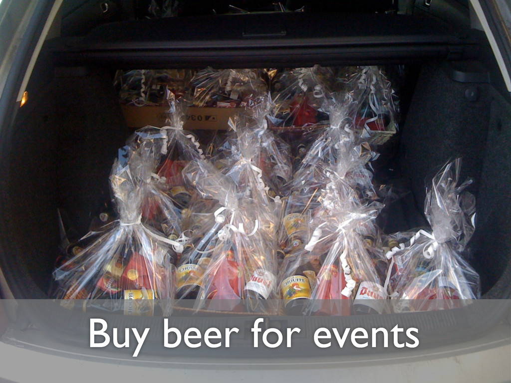 Buy beer for events