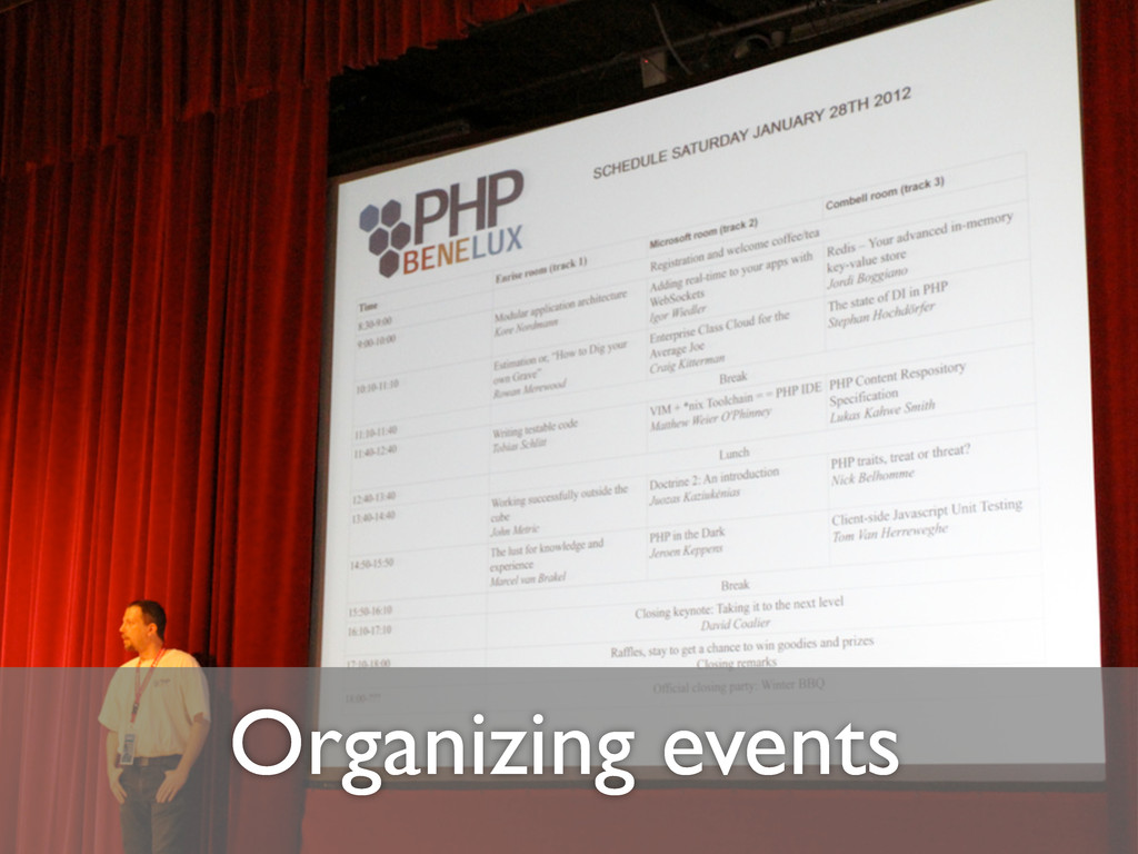 Organizing events