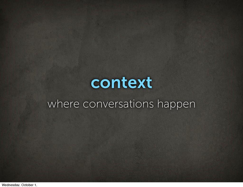 context where conversations happen Wednesday, O...