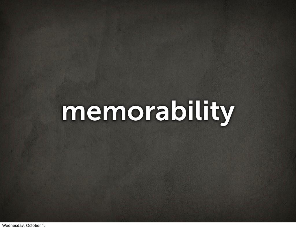 memorability Wednesday, October 1,