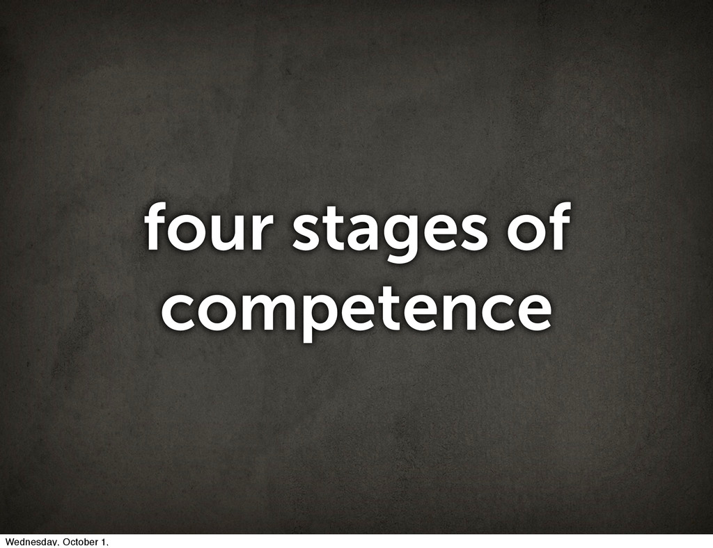 four stages of competence Wednesday, October 1,