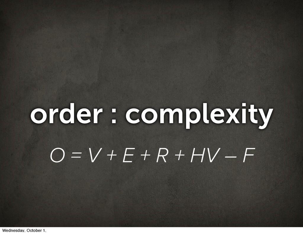 order : complexity O = V + E + R + HV – F Wedne...