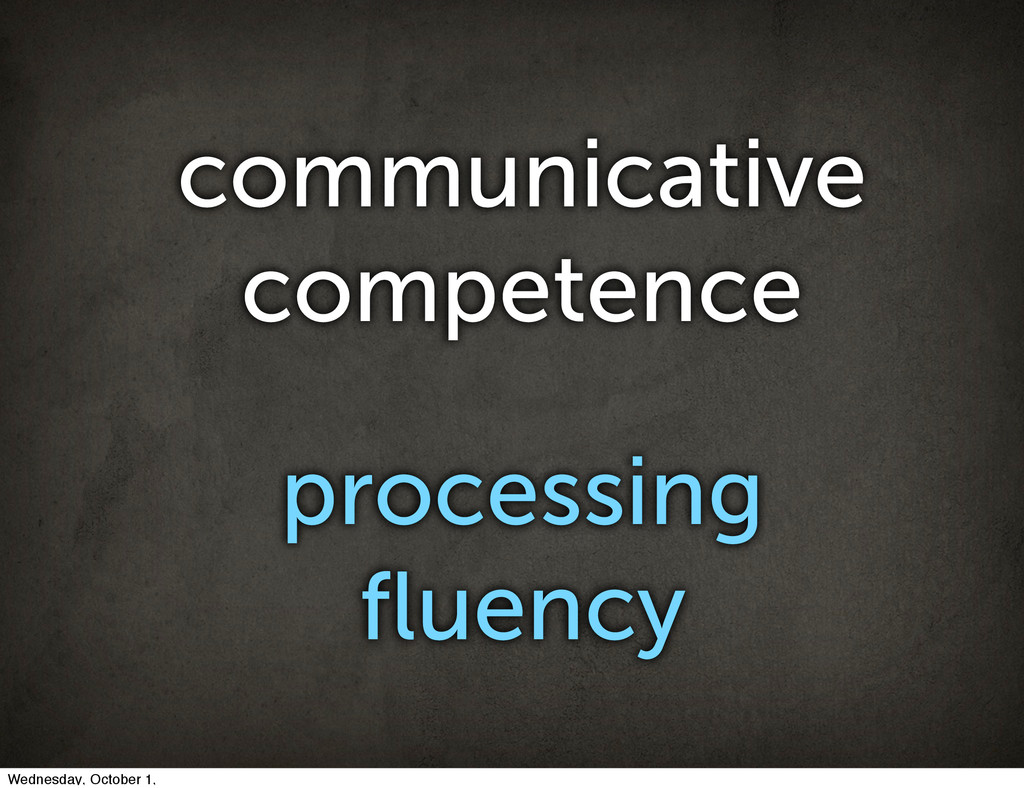 communicative competence processing fluency Wedn...