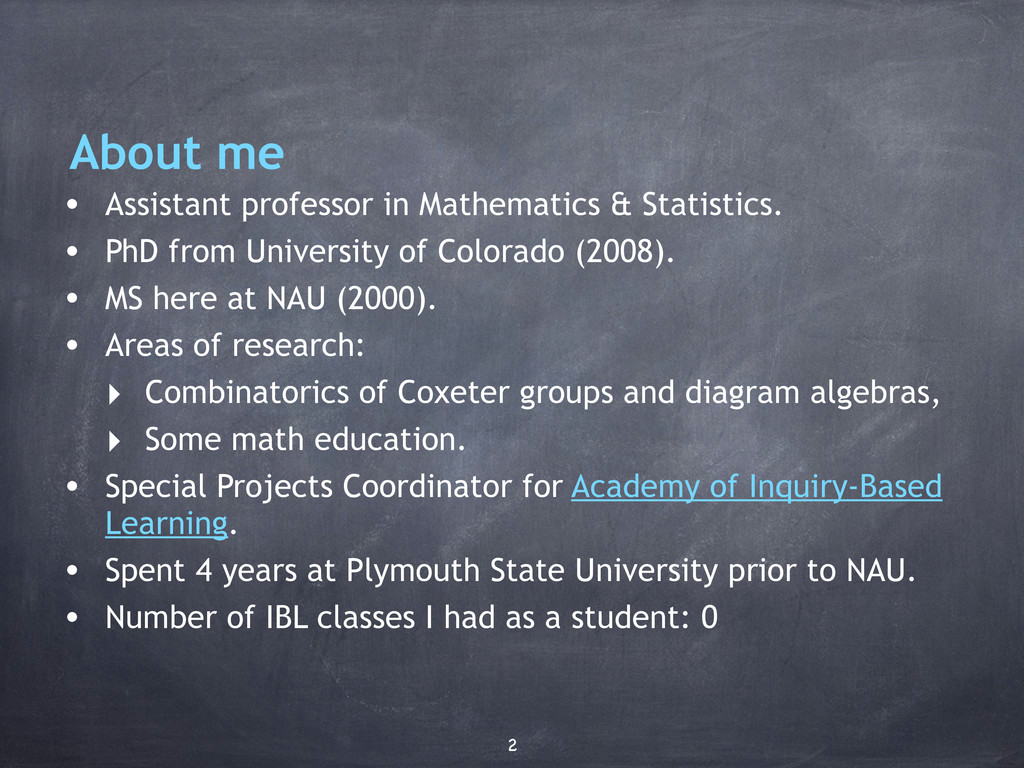 About me • Assistant professor in Mathematics &...