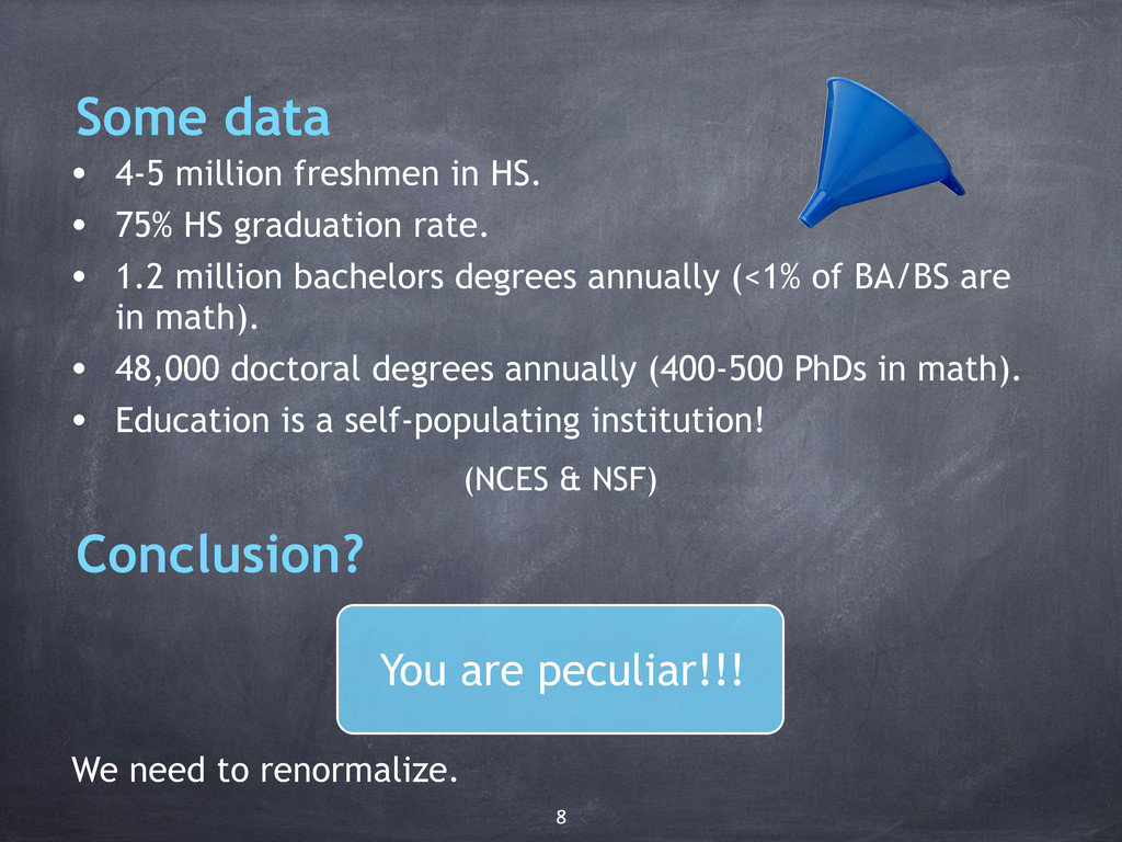 Some data • 4-5 million freshmen in HS. • 75% H...