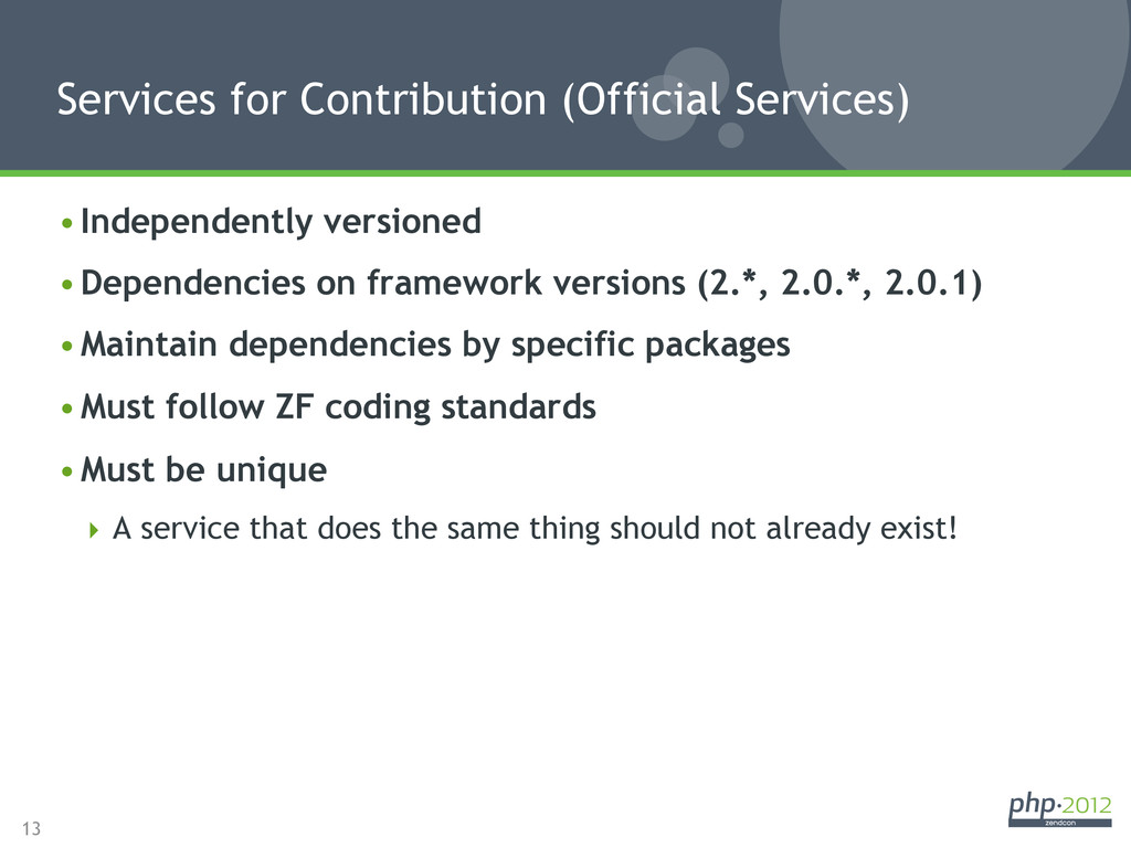 13 •Independently versioned •Dependencies on ...