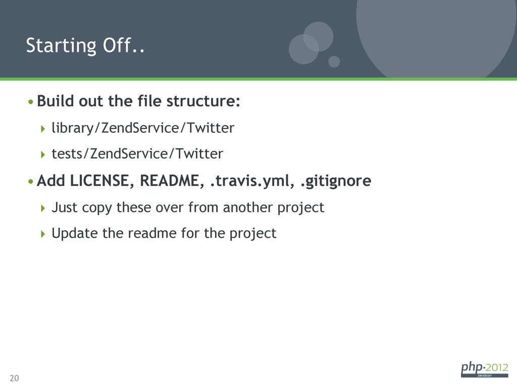 20 •Build out the file structure: library/Ze...