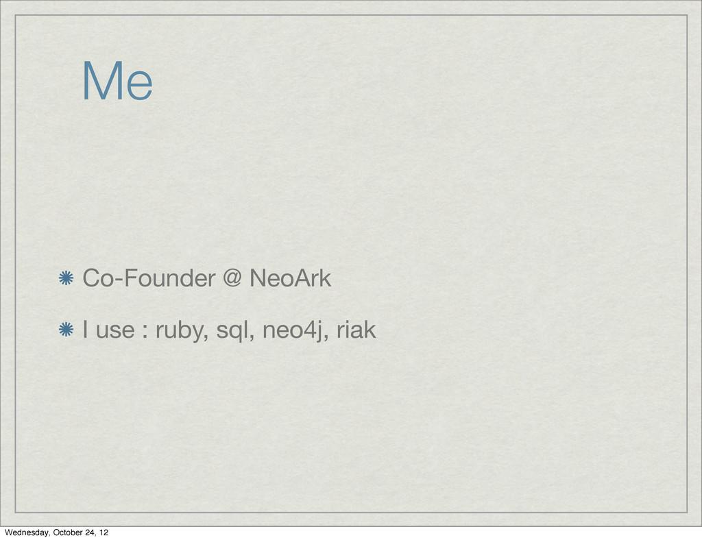 Me Co-Founder @ NeoArk I use : ruby, sql, neo4j...