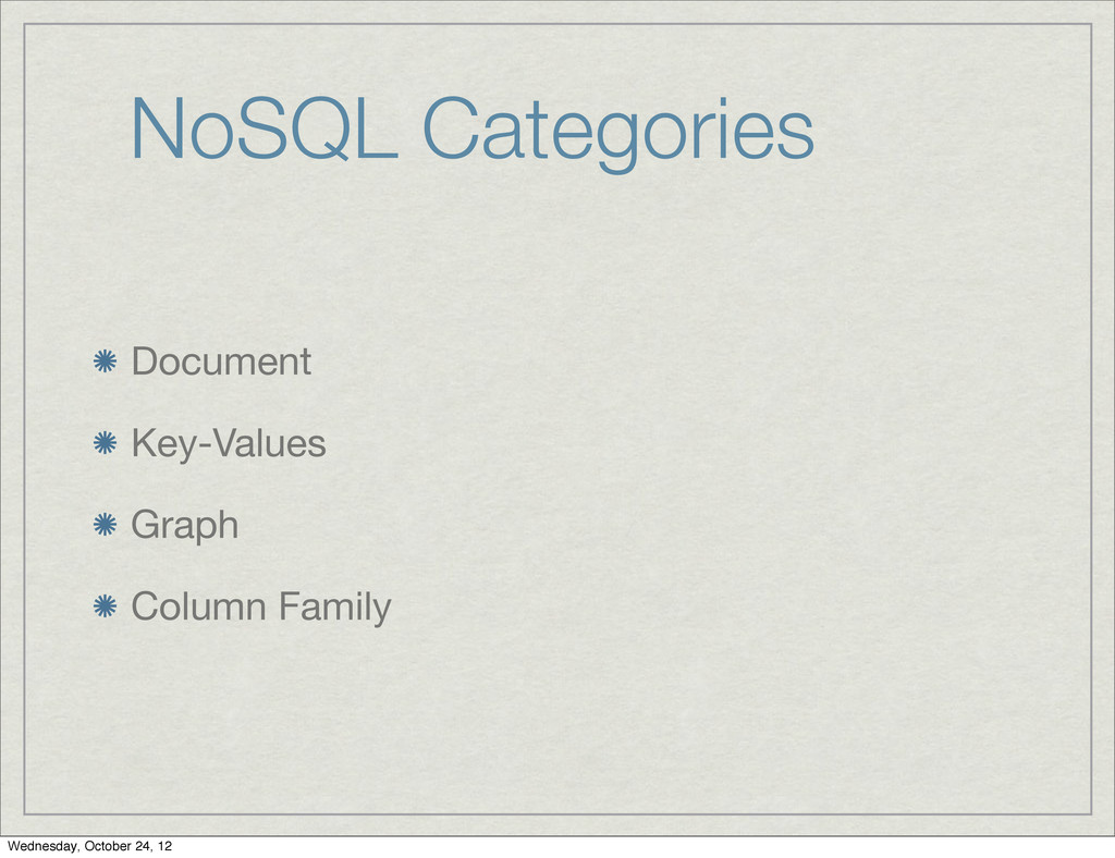 NoSQL Categories Document Key-Values Graph Colu...