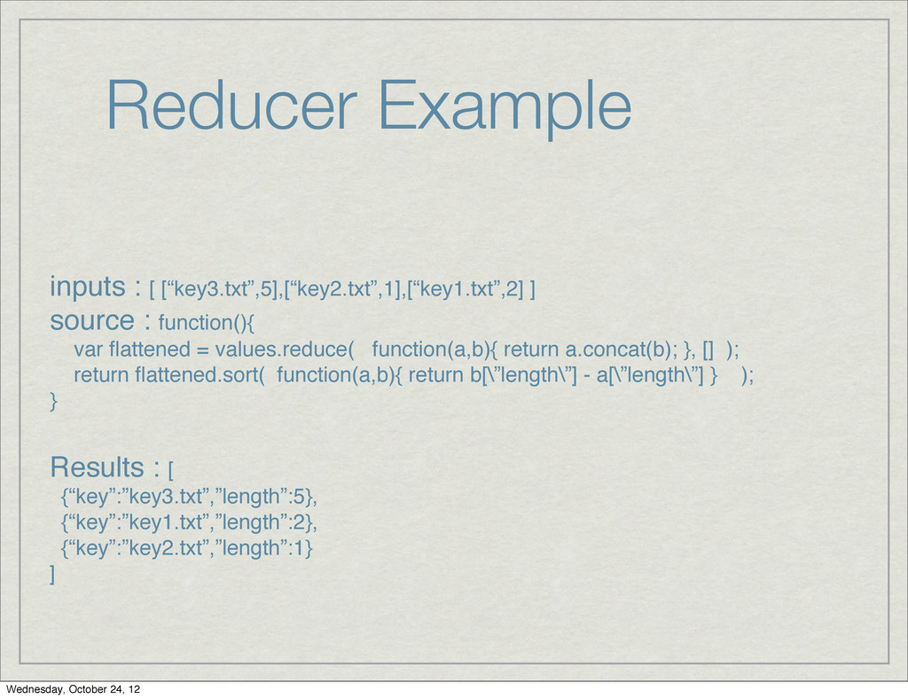 "Reducer Example inputs : [ [""key3.txt"",5],[""key..."