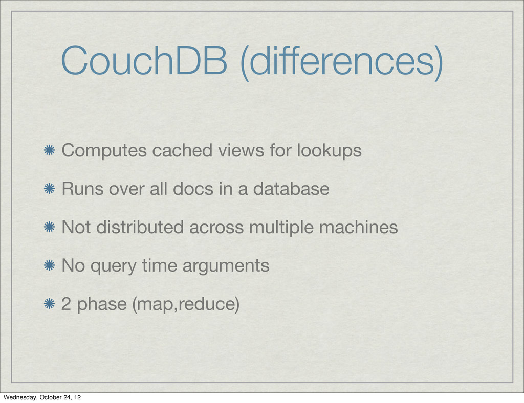 CouchDB (differences) Computes cached views for...