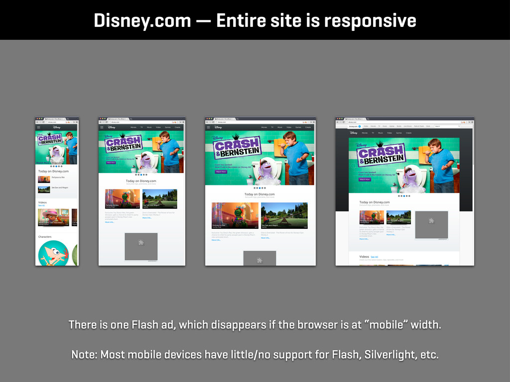 Disney.com — Entire site is responsive There is...