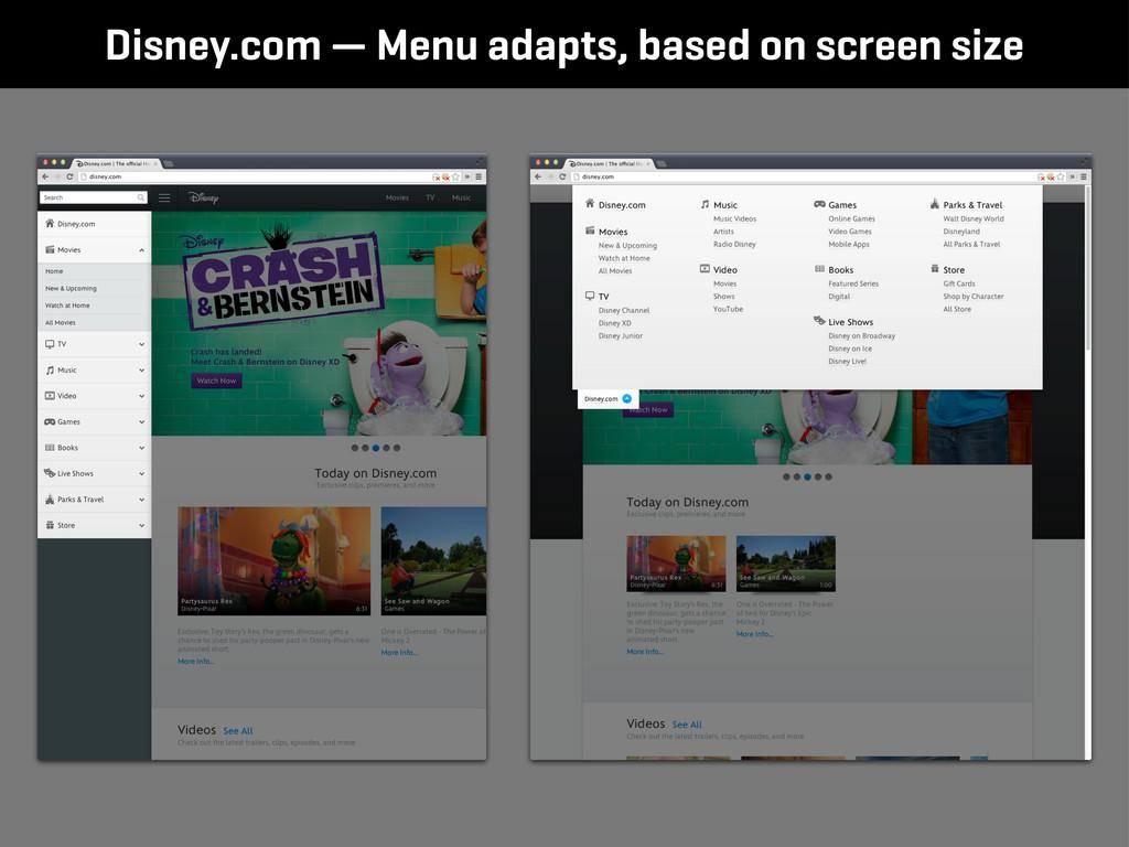 Disney.com — Menu adapts, based on screen size