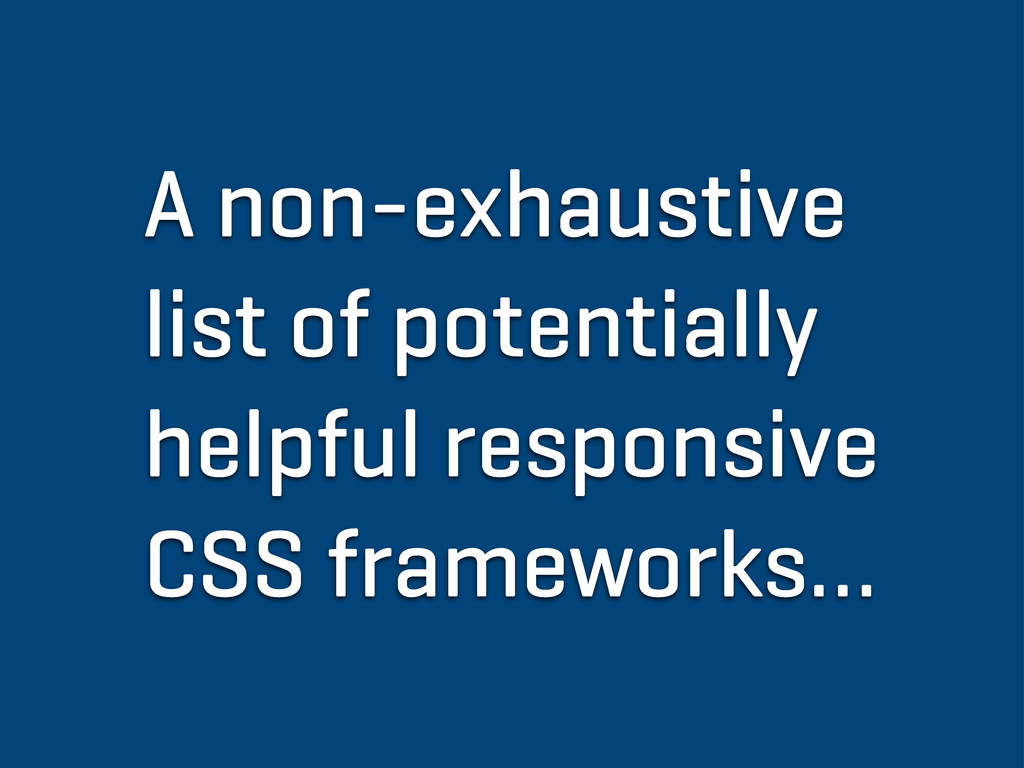 A non-exhaustive list of potentially helpful re...