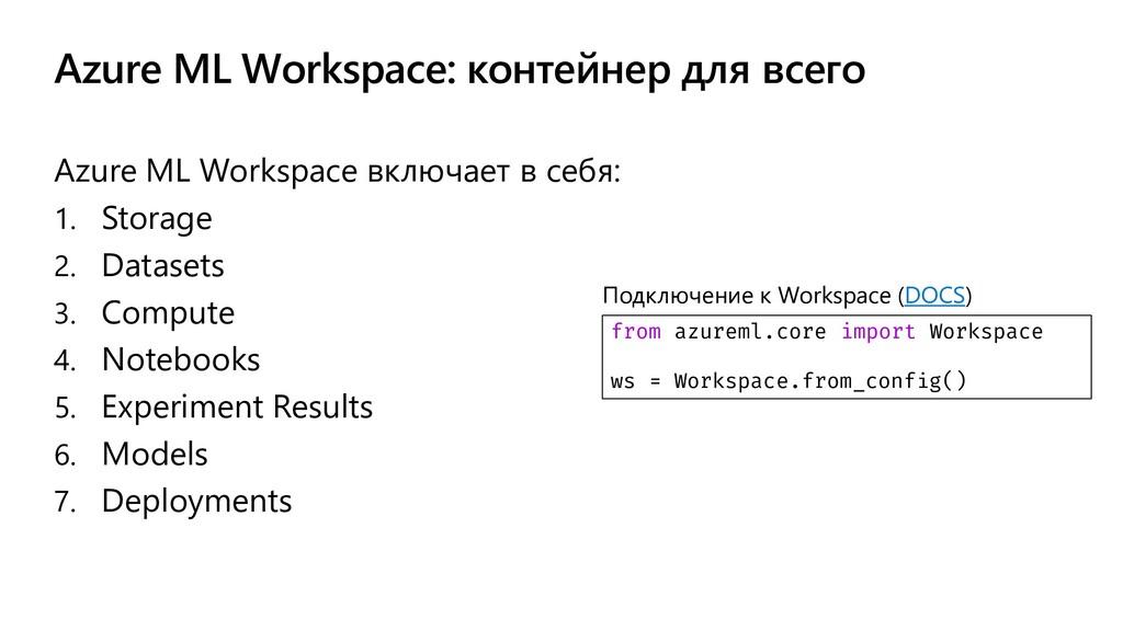 Azure ML Workspace: контейнер для всего Azure M...