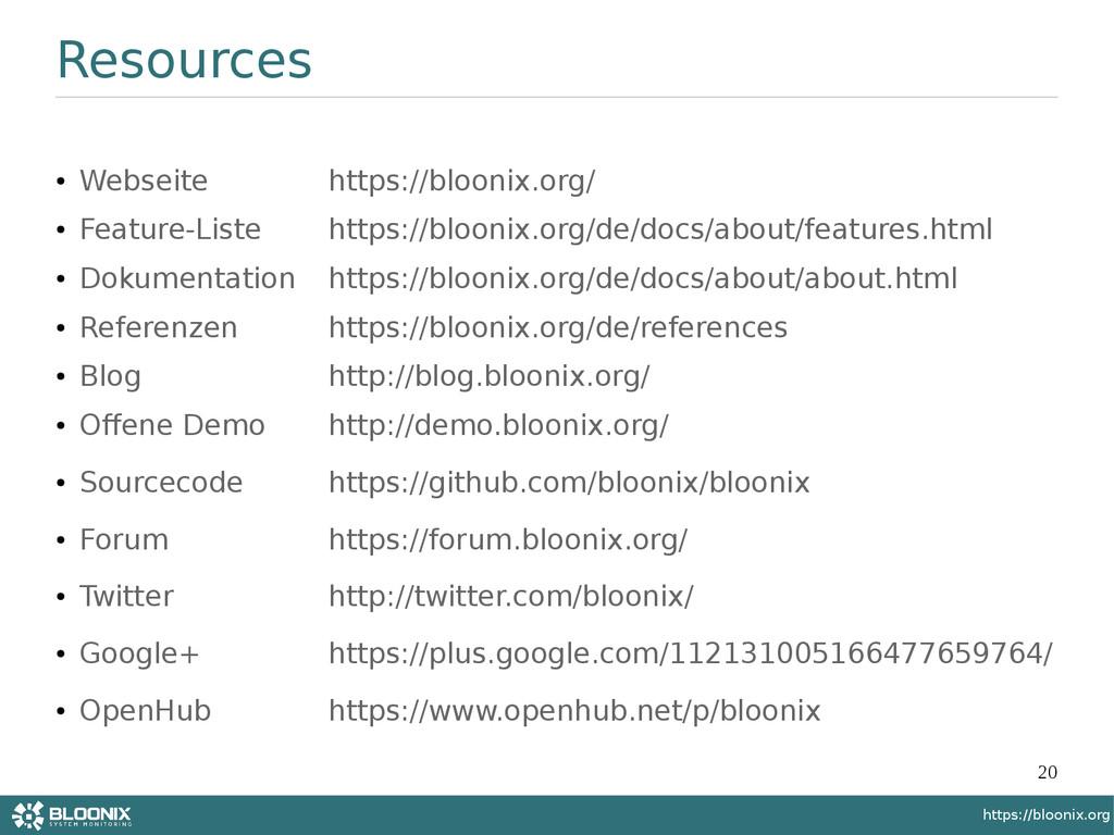 20 https://bloonix.org Resources ● Webseite htt...