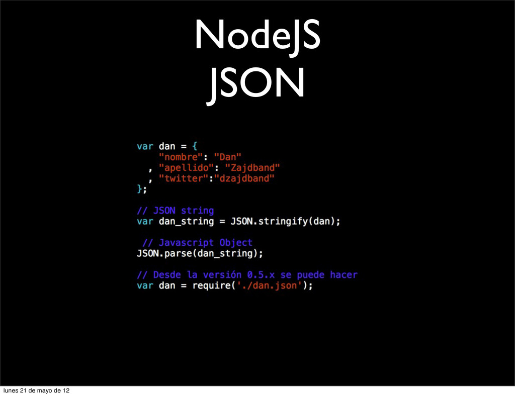 NodeJS JSON lunes 21 de mayo de 12
