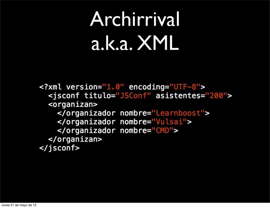Archirrival a.k.a. XML lunes 21 de mayo de 12
