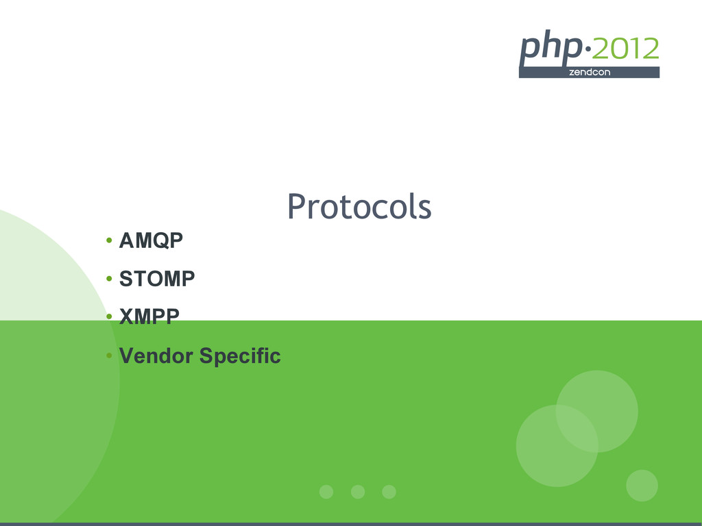 Protocols • AMQP • STOMP • XMPP • Vendor Sp...