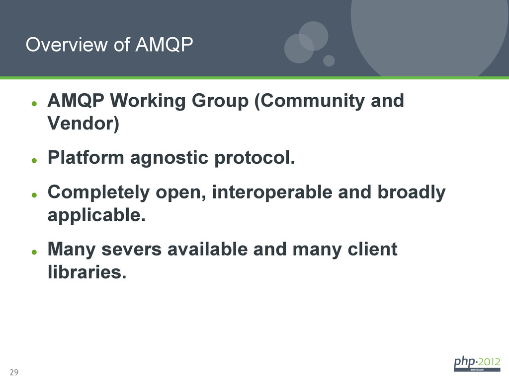 29 l AMQP Working Group (Community and Vendor...