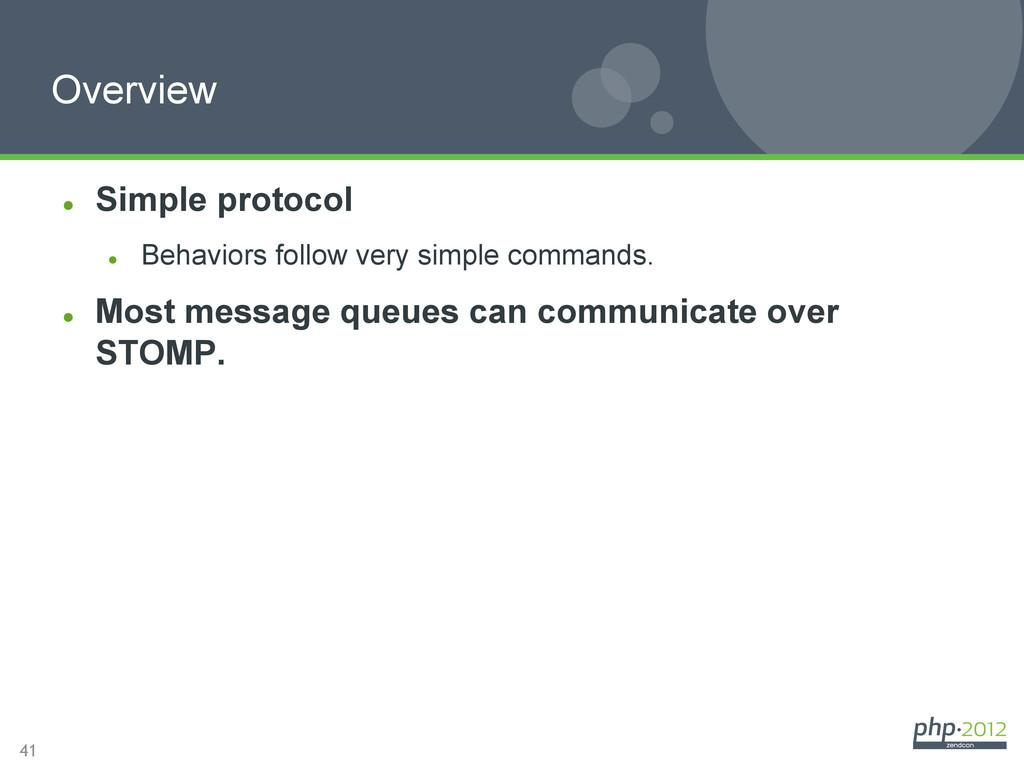 41 Overview l Simple protocol l Behaviors f...