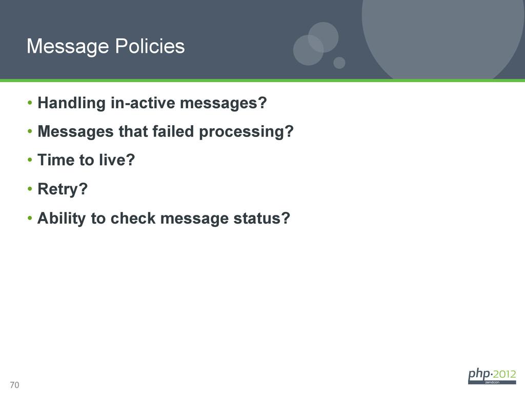 70 Message Policies • Handling in-active messa...
