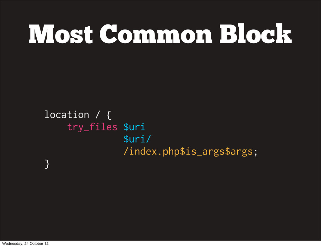 Most Common Block location / { try_files $uri $...